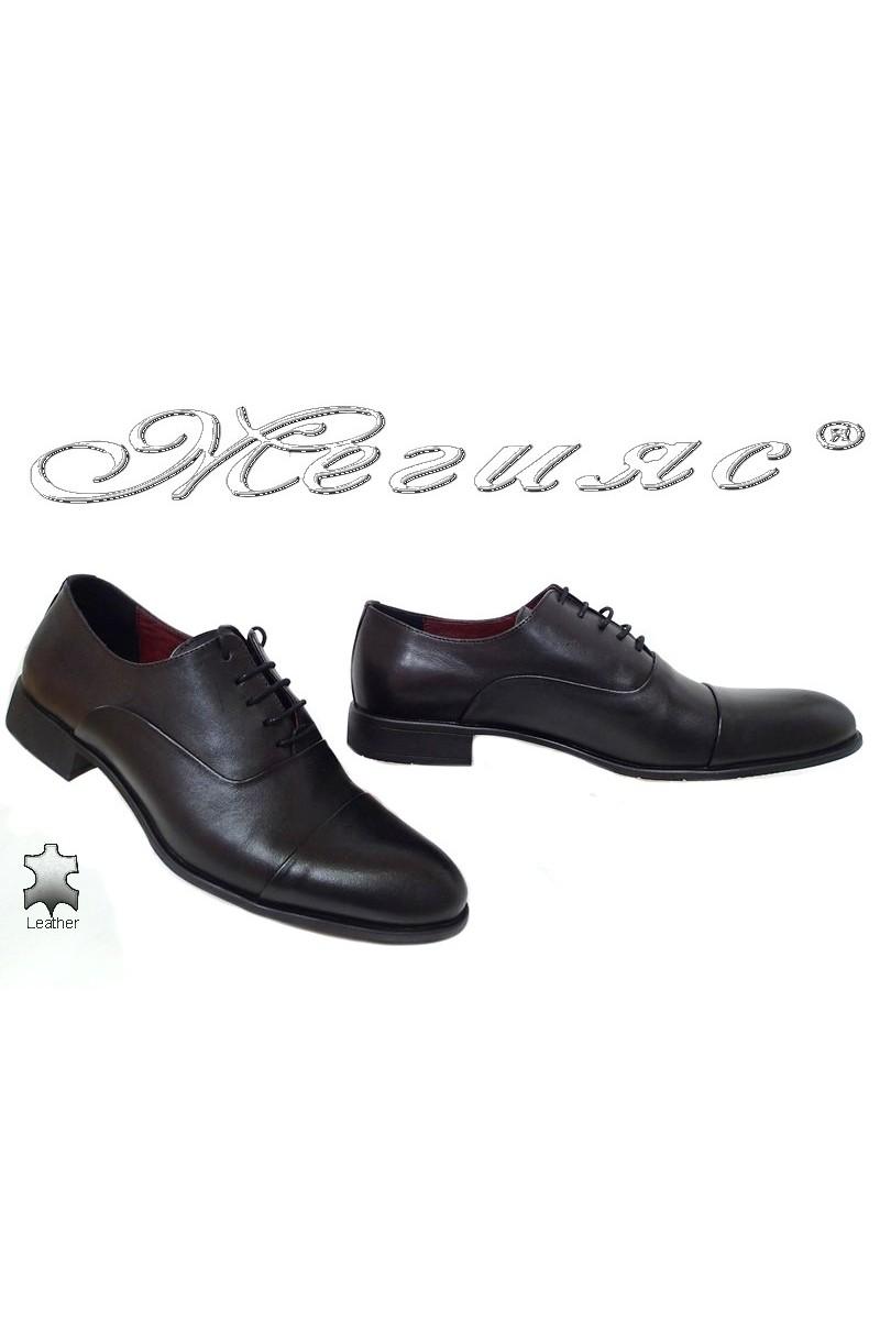 Мъжки елегантни обувки 1654 черни от естествена кожа