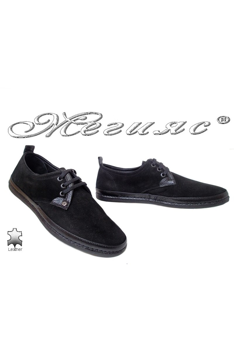 Мъжки обувки 221/223 черни от естествен набук