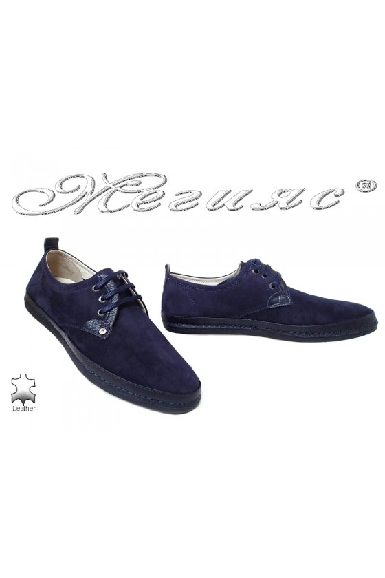 Мъжки обувки 221/223  тъмно сини от естествен набук