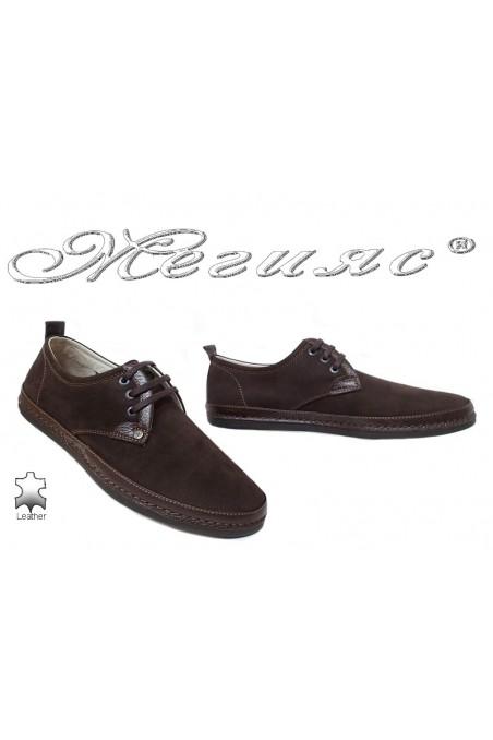 Мъжки обувки 221/223 кафяви от естествен набук