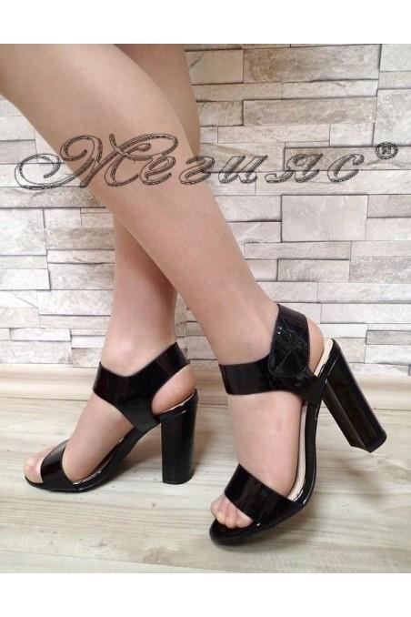 Дамски сандали Jeniffer S1720-67 черни лак на висок ток