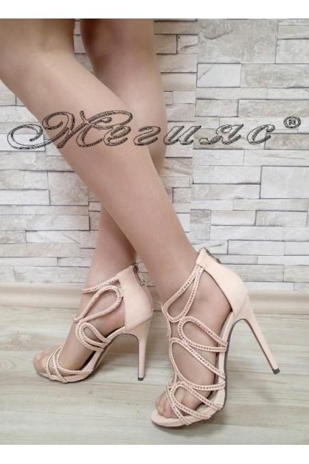 Дамски сандали Jeniffer S1720-61 бежови елегантни с висок ток