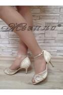 Дамски сандали Jeniffer S1720-53 бежов сатен с дантела