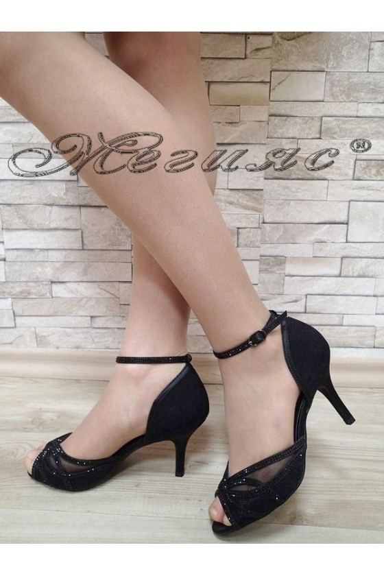 Дамски сандали Jeniffer S1720-53 черни сатен с дантела