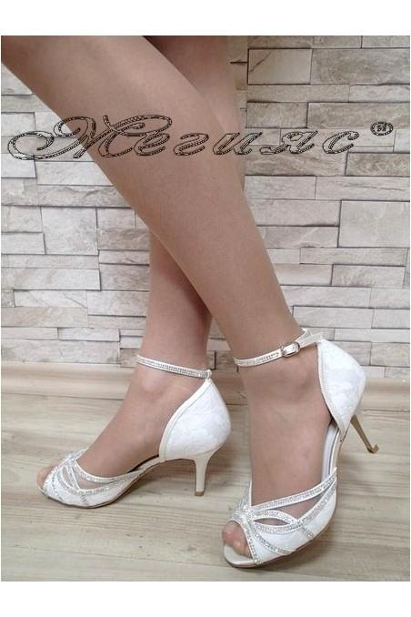 Дамски сандали Jeniffer S1720-53 бели сатен с дантела