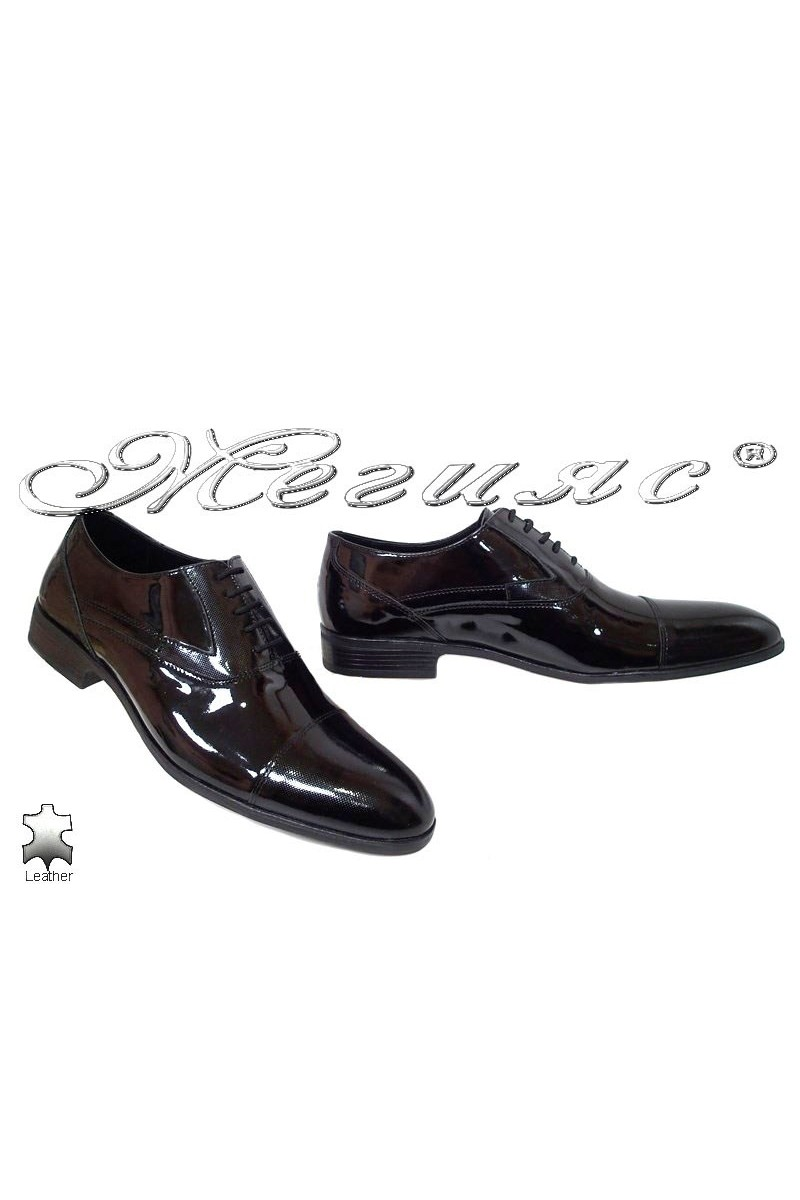 Мъжки обувки Фантазия 18103 лак черни от естествена кожа