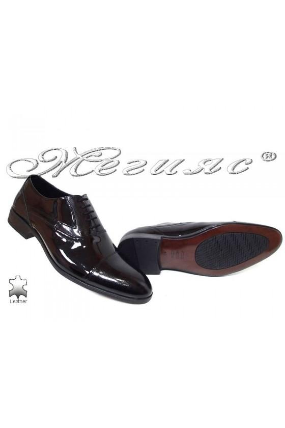 Мъжки обувки Фантазия 18022-0-2 лак черни елегантни от естествена кожа