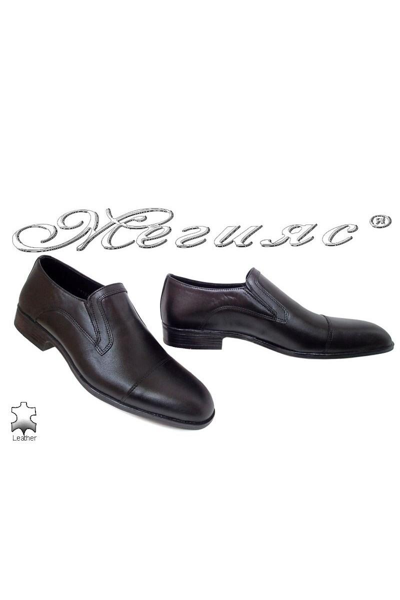 Мъжки обувки Фантазия 18022-0-2 мат елегантни черни от естествена кожа