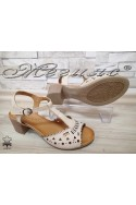 Women sandals 3081 beige leather with middle heel