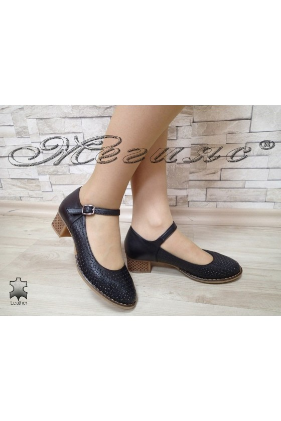 Дамски обувки 3020 черни  естествена кожа