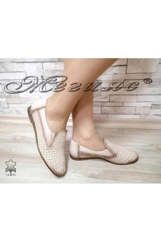 Дамски обувки 3029 бежови ежедневни естествена кожа