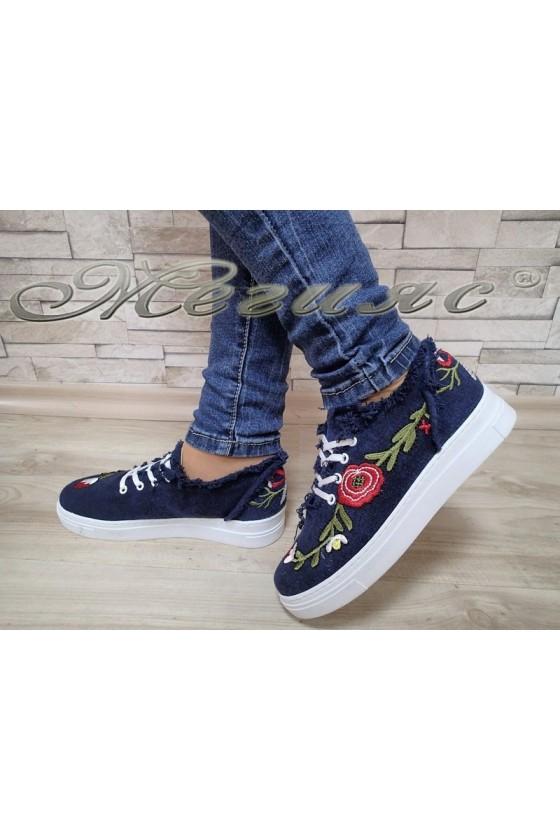 Дамски спортни обувки 27 дънкови на цветя