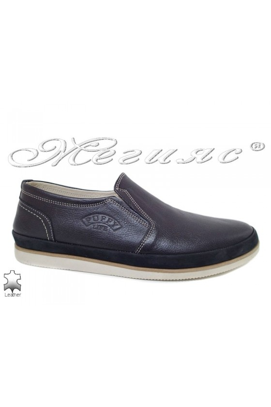 Men shoes Puffy 756-34-05 blue leather