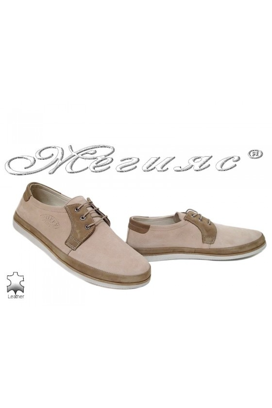 Men shoes Puffy 754-03-01 beige leather