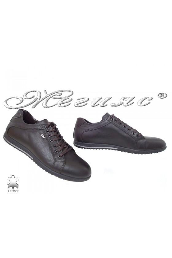 Мъжки обувки Тренд Н-65 тъмно кафяви спортни от естествена кожа