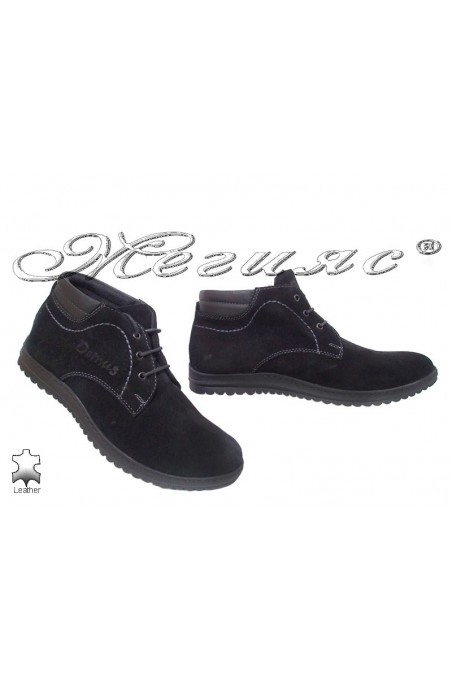 Men's boots 646 black suede leather