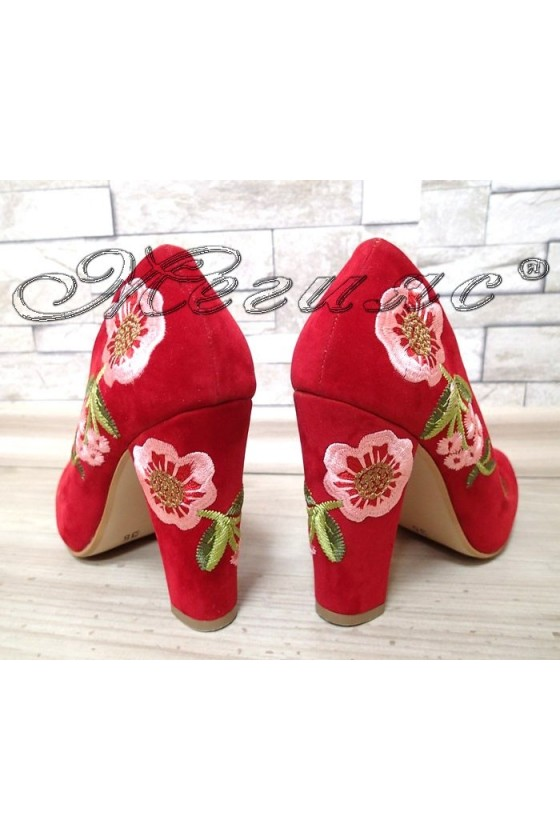 Lady elegant shoes 1617 red suede