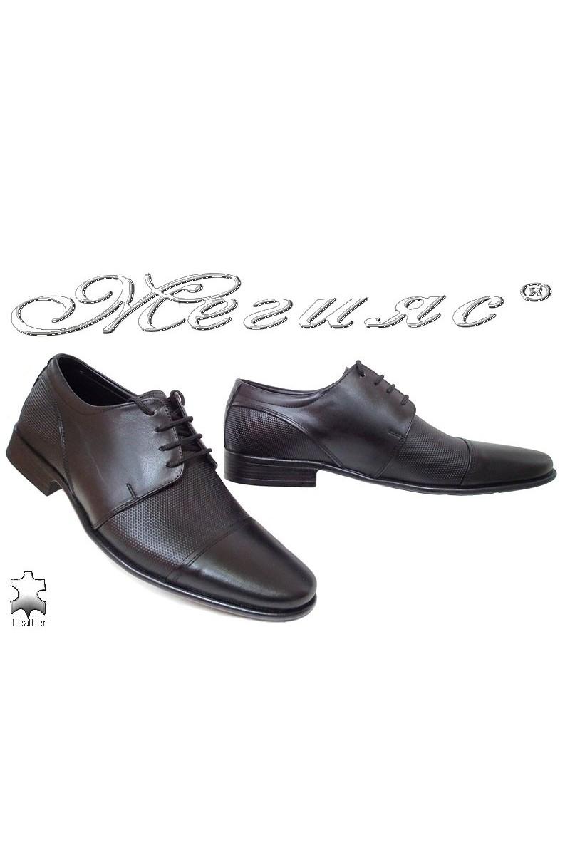 Мъжки обувки Ато-736 черни елегантни от естествена кожа