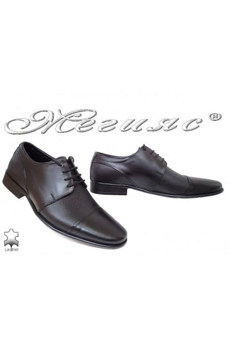Мъжки обувки Ато-106 черни елегантни от естествена кожа