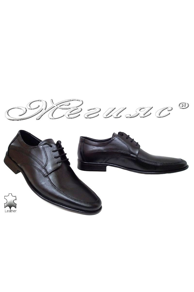 Мъжки обувки Ато-078 черни елегантни от естествена кожа