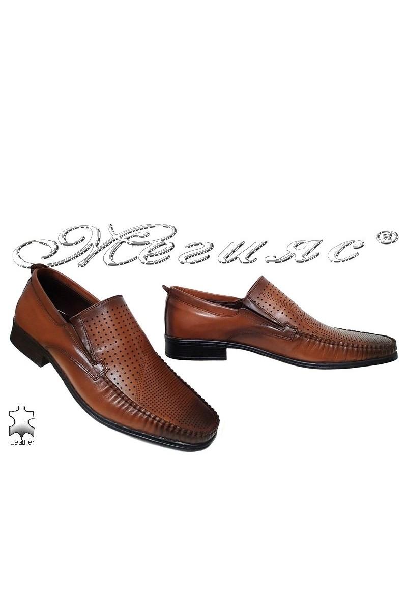 Мъжки обувки Ато-06 таба с перфорация елегантни от естествена кожа