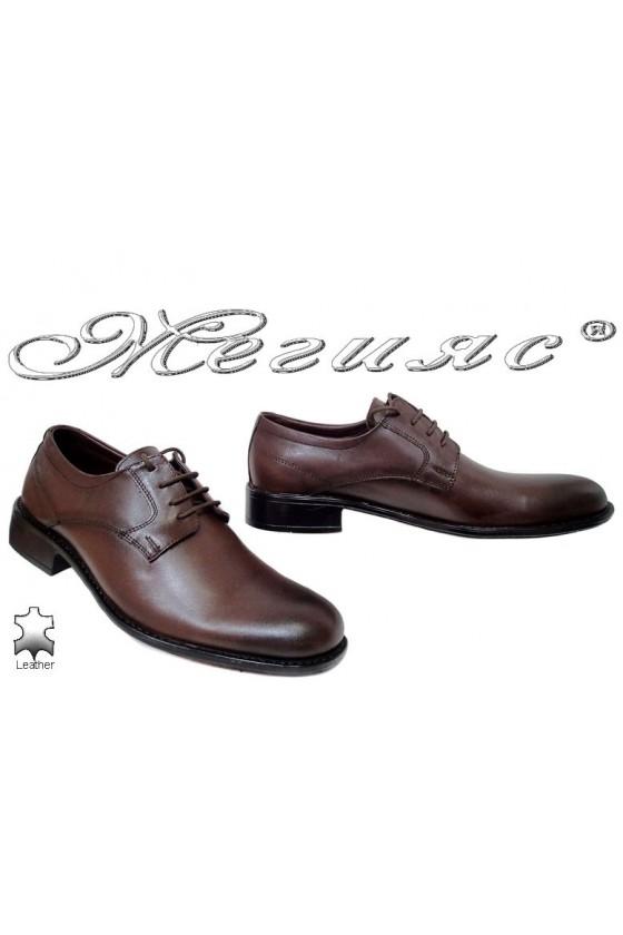 Мъжки обувки Ато-4092 тъмно кафяви елегантни от естествена кожа