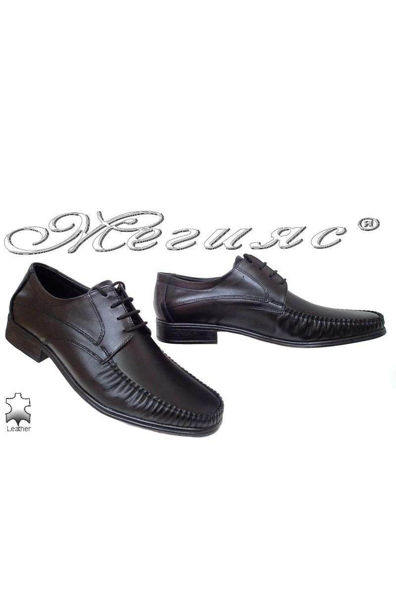 Мъжки обувки Ато-07 черни елегантни от естествена кожа