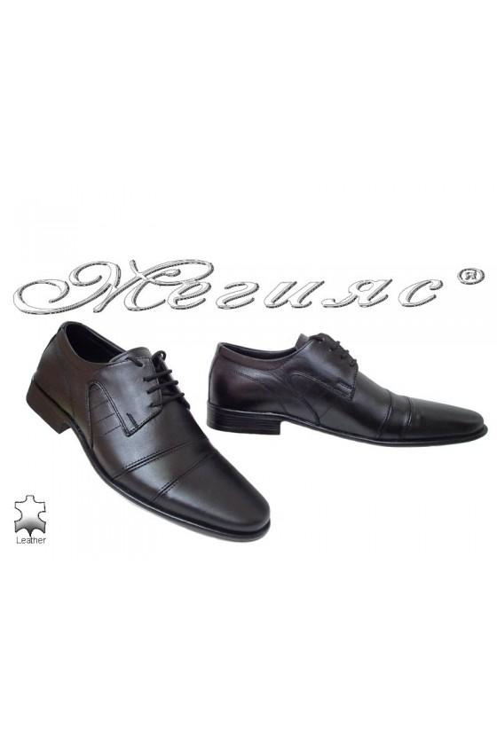 Мъжки обувки Ато-075 черни елегантни от естествена кожа