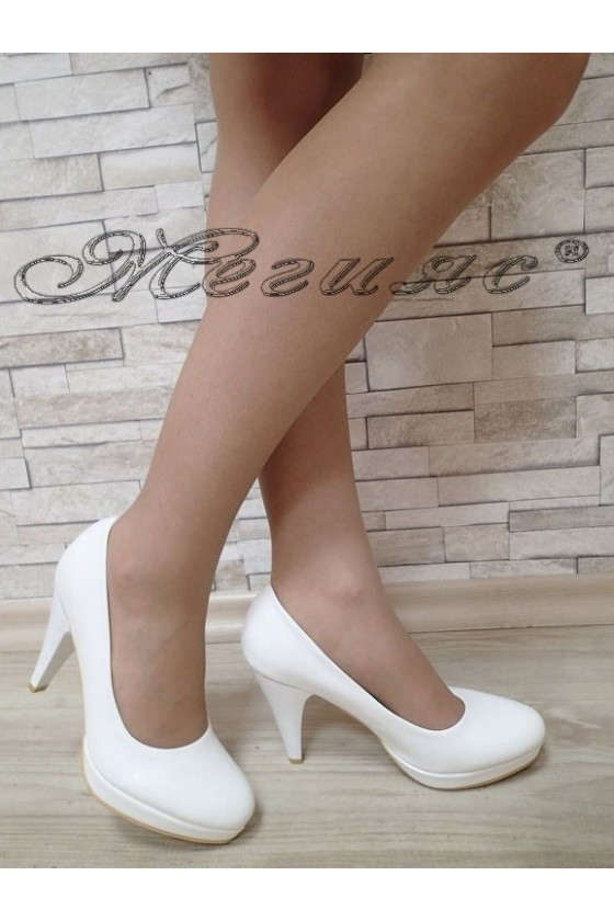 Lady elegant shoes 520 white pu with high heel