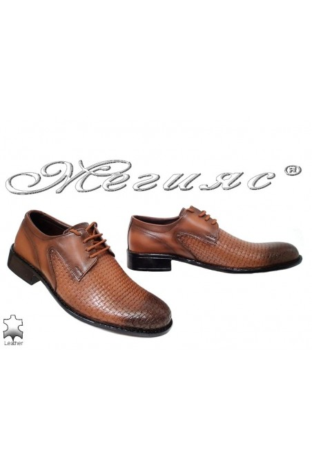 Men's elegant shoes 4001 brown leather