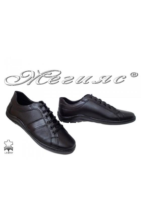 Мъжки обувки Ато-44 черни от естествена кожа