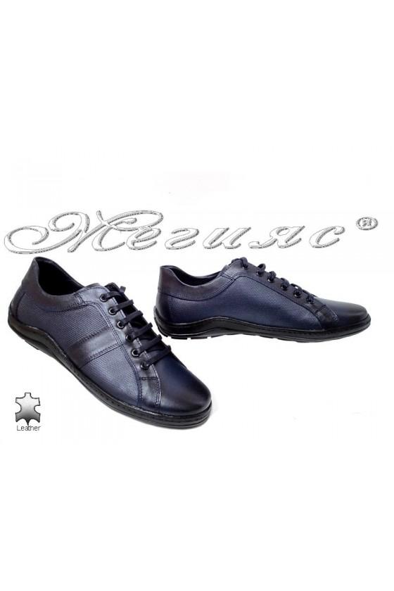 Мъжки обувки Ато-44 сини от естествена кожа