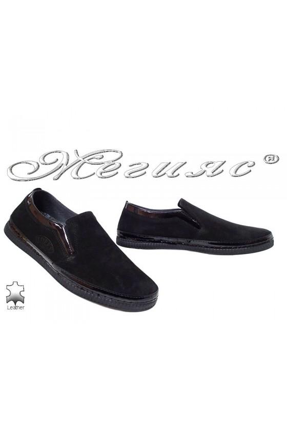 Мъжки обувки Пъфи 787 черни велур от естествена кожа