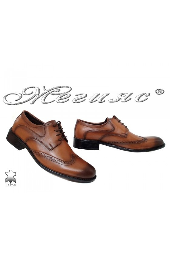 Men's elegant shoes 14094 brown leather
