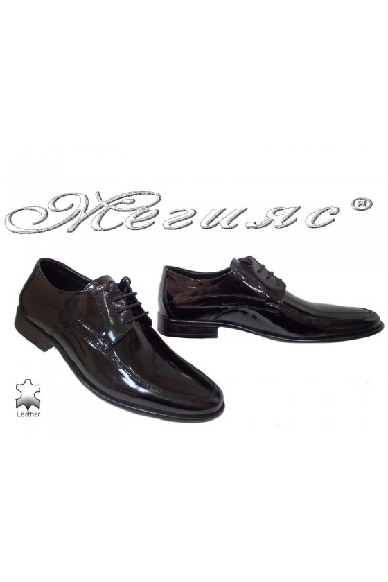 Men's elegant shoes 078 black patent