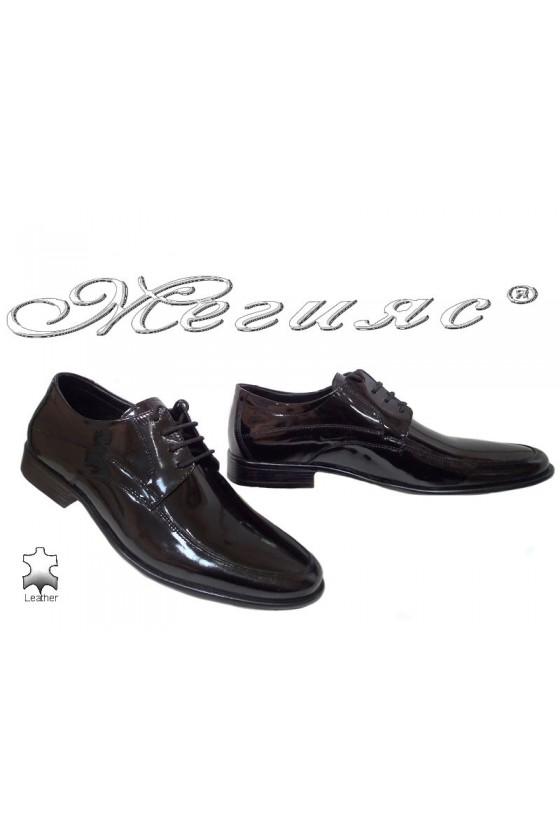 Мъжки обувки Ато-078 черни лак елегантни от естествена кожа