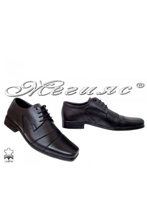 Мъжки обувки Ато-729 черни елегантни от естествена кожа