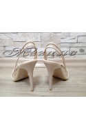 Women elegant sandals 800 beige patent with high heel