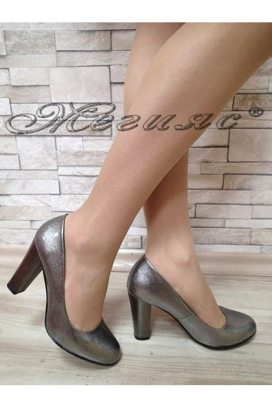 Дамски обувки K.Carol S1720-122-1 графит елегантни от еко кожа с широк ток