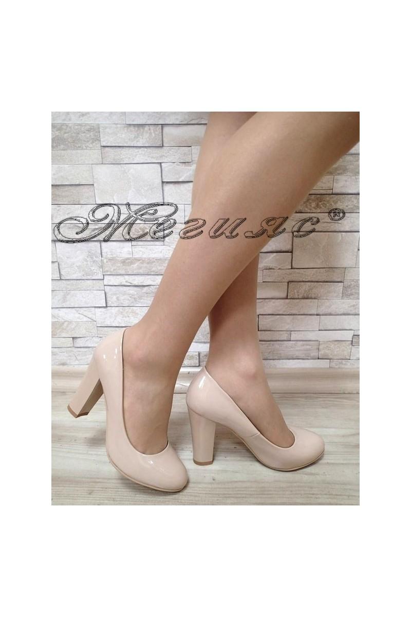 Women elegant shoes S1720-123-2 beige patent