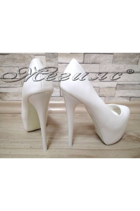 Women elegant shoes S1720-128-5 white pu