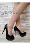 Дамски обувки Carol S1720-129-1 черни елегантни от еко кожа с висок ток