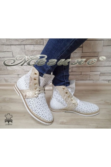 Women summer boots 103/02/21 white/gold leather