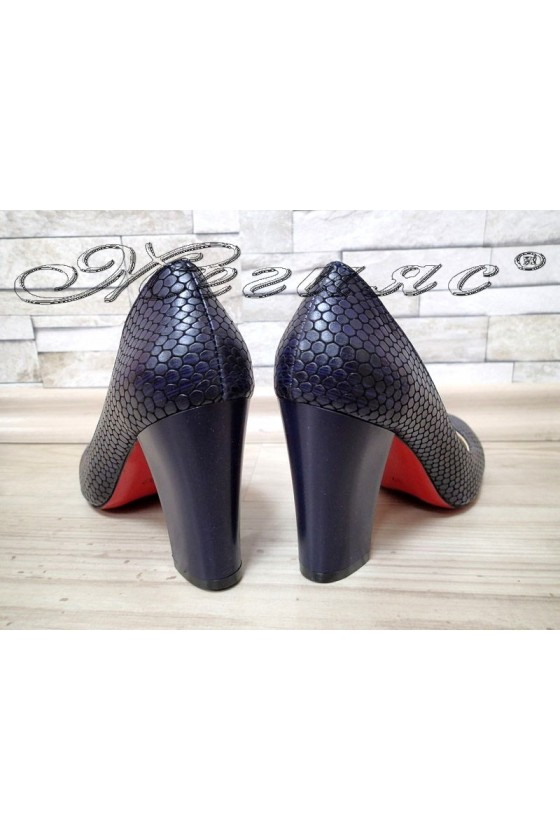 Lady elegant shoes 3090 dark blue snake