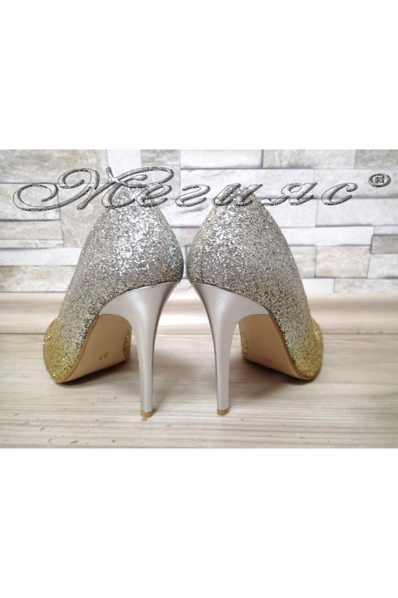 Lady elegant  shoes 5596 gold/silver with high heel