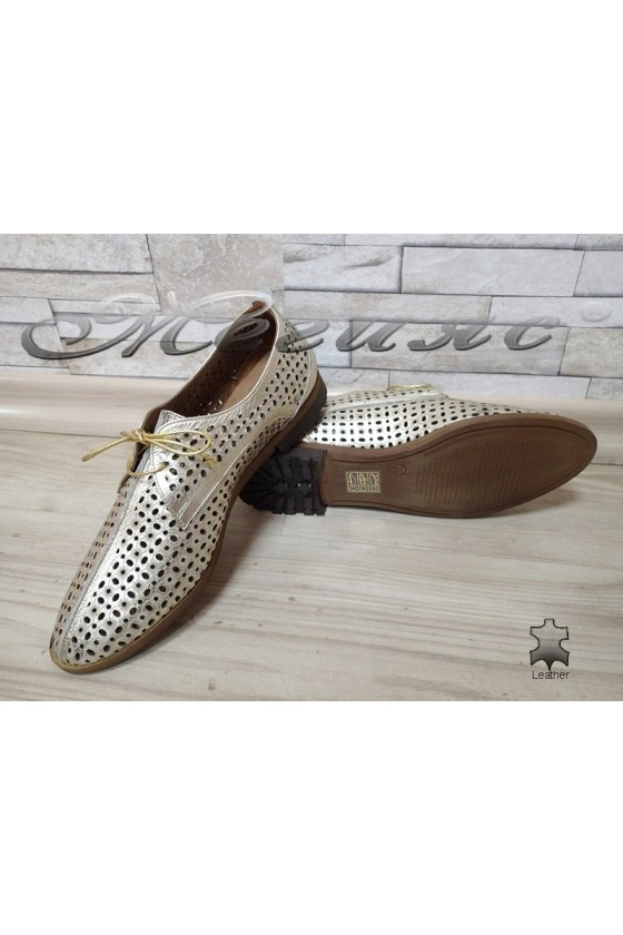 Lady shoes 721-02 gold leather