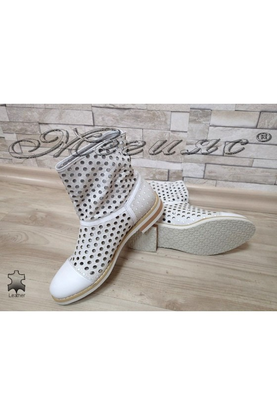Women summer boots 050-6 white leather
