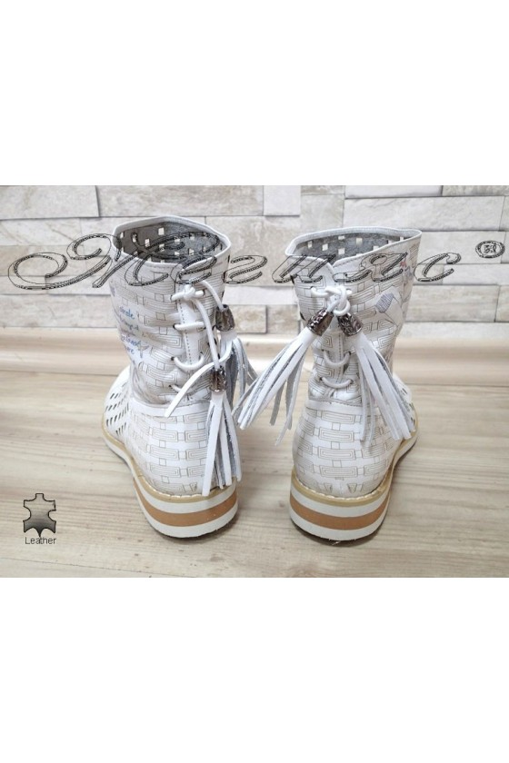 Women summer boots 050-4 white leather