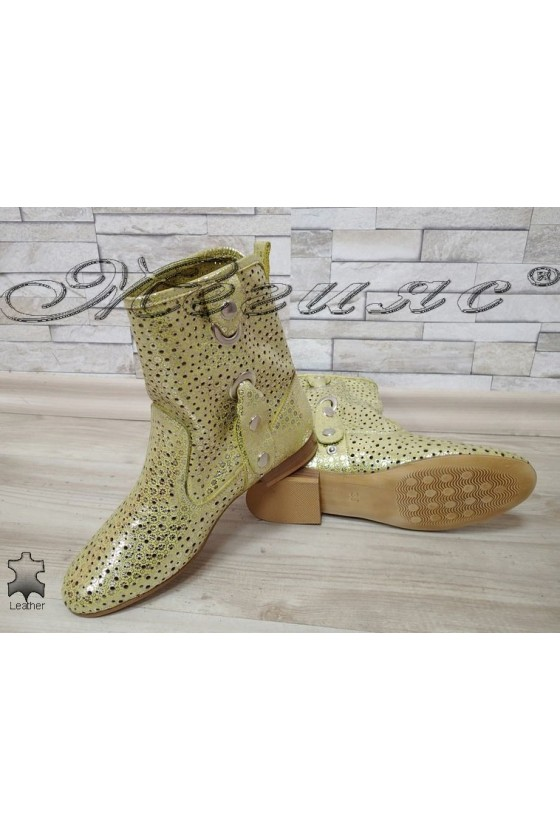 Women summer boots 503 yellow leather