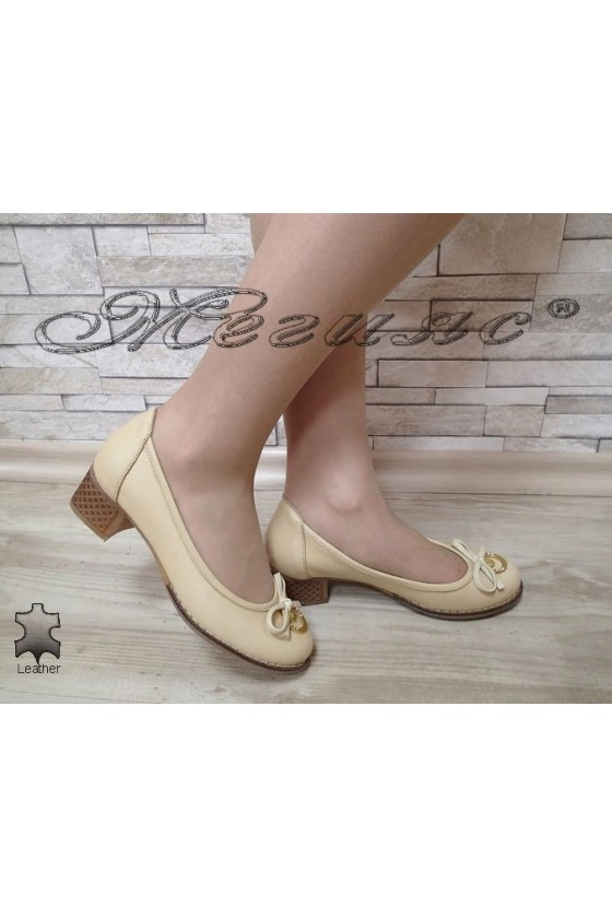 Lady shoes 416 beige leather